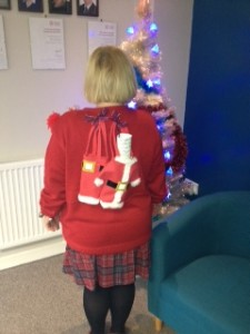 The back of Fran's Christmas Jumper!