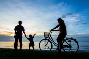 Family Bike Ride on the Beach